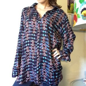 Vintage Tops - natura Portuguese Tribal Print Coconut Button Up